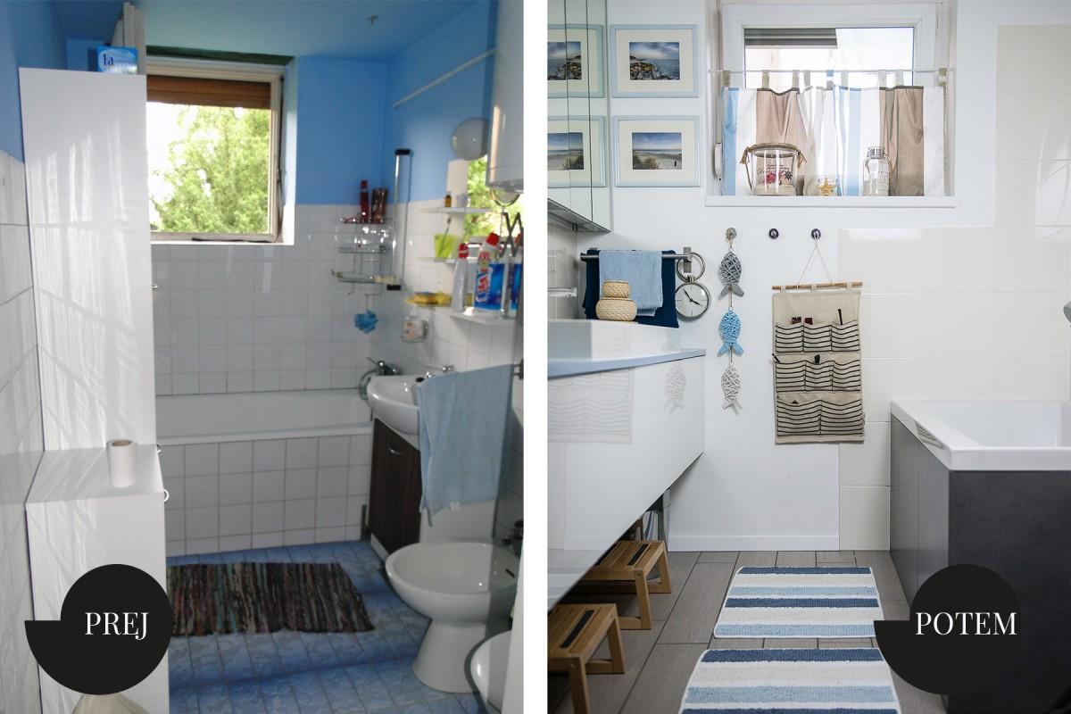 Mala modra kopalnica je tako dobila novo preobleko v morskih tonih. Postala je del bivalnega dela in ni več skrita pred vsakodnevnim vrvežem. Zdaj je igriv prostor, prilagojen otroškim potrebam in njihovi domišljiji.