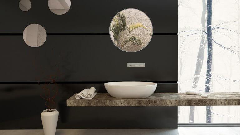 Preprosto okroglo ogledalo kot element dekoracije