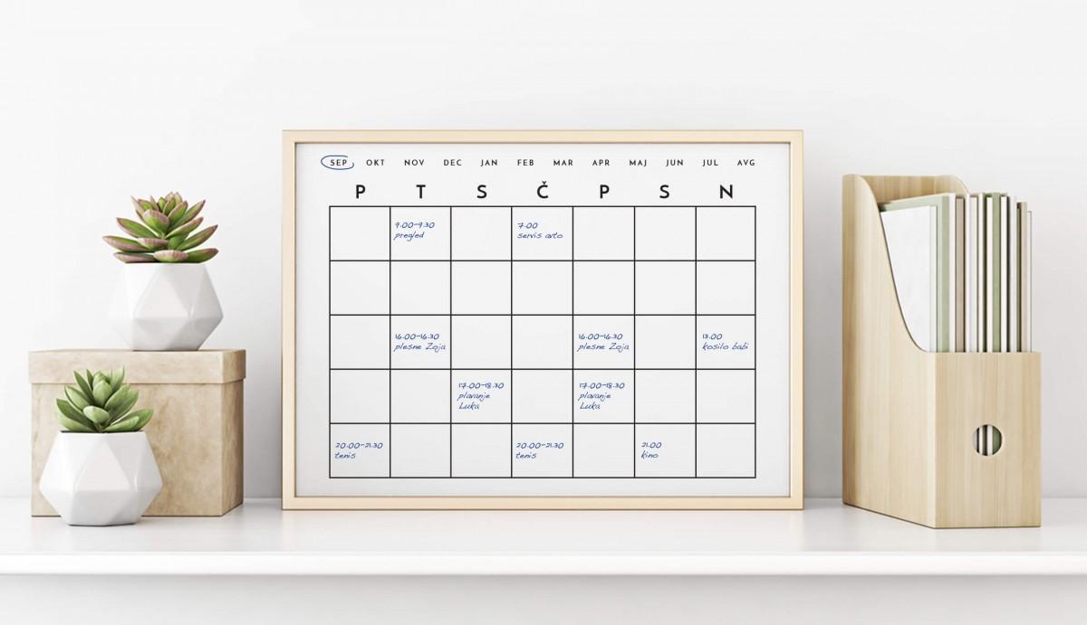 Piši-briši tabla: urnik tedenskih obveznosti in dejavnosti